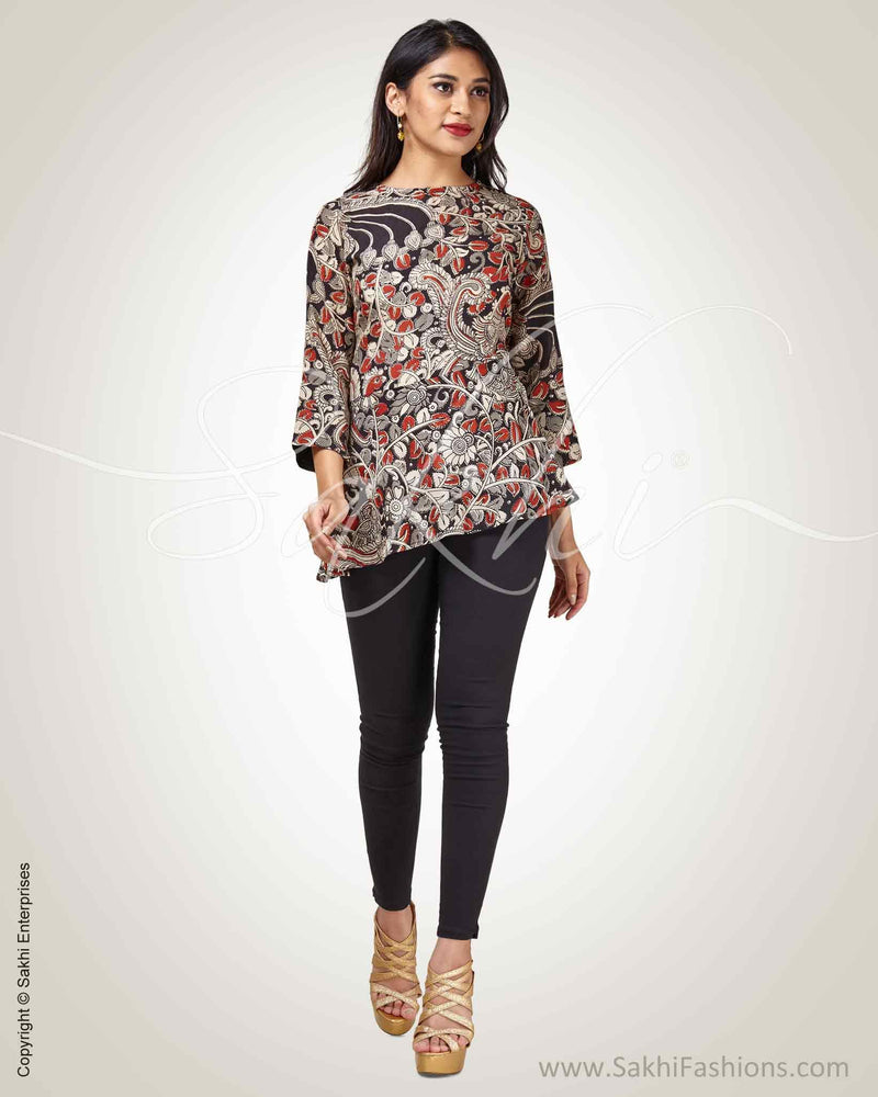 RTQ-17782 - Black & Multi Silk & Cotton Top
