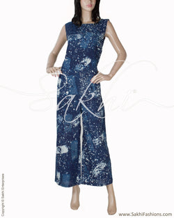 RTQ-1946 - Blue & White Pure Cotton Jumpsuit