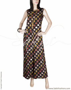 RTQ-20205 - Black & Multi Silk & Cotton Top