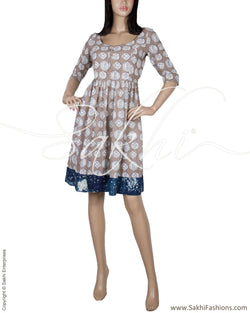 RTQ-5928 - Grey & Blue Pure Cotton Frock