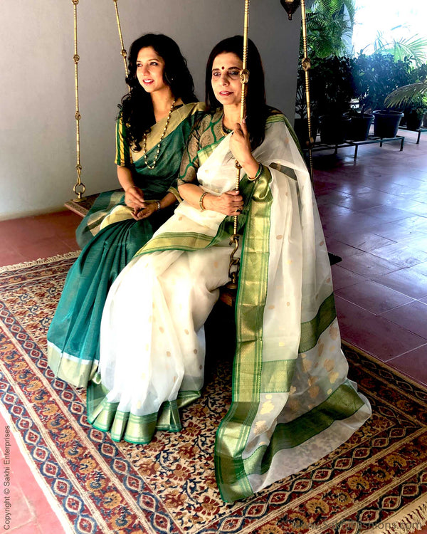 EE-S21056 - White & Green pure Organza Silk Saree