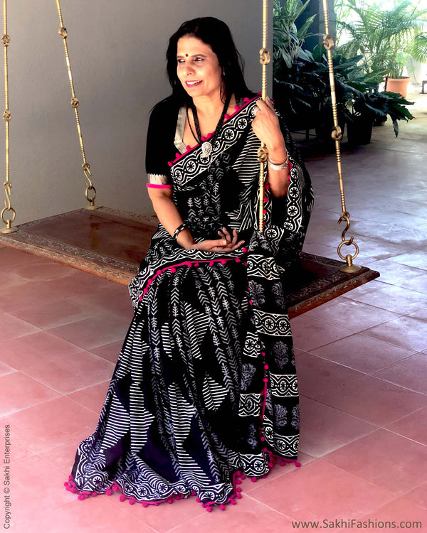 EE-R20246 - Black & White Pure Cotton Saree