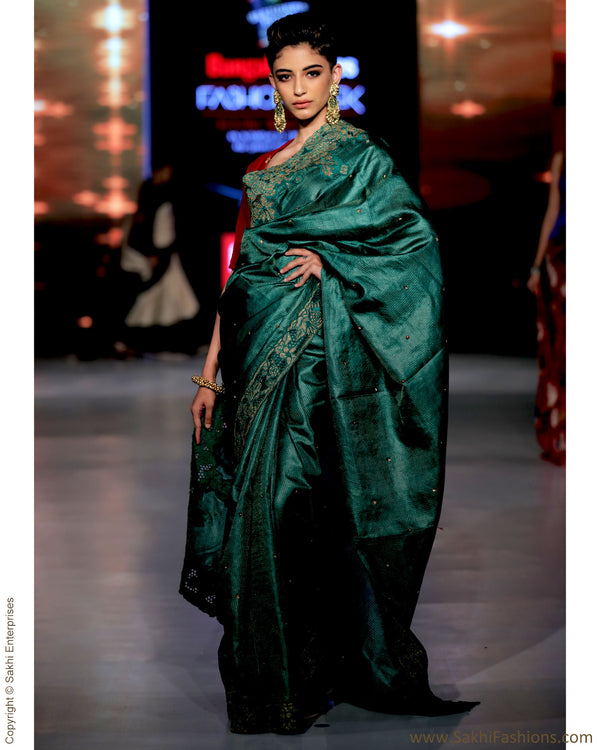 SR-0904 -  Green & Gold pure Tussar silk saree