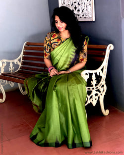 EE-S18162 - Green & Grey pure Tussar saree