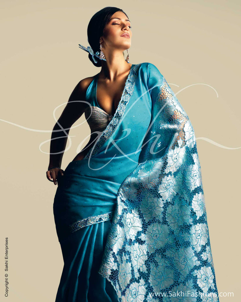 SR-0016 Blue & silver Organza silk saree
