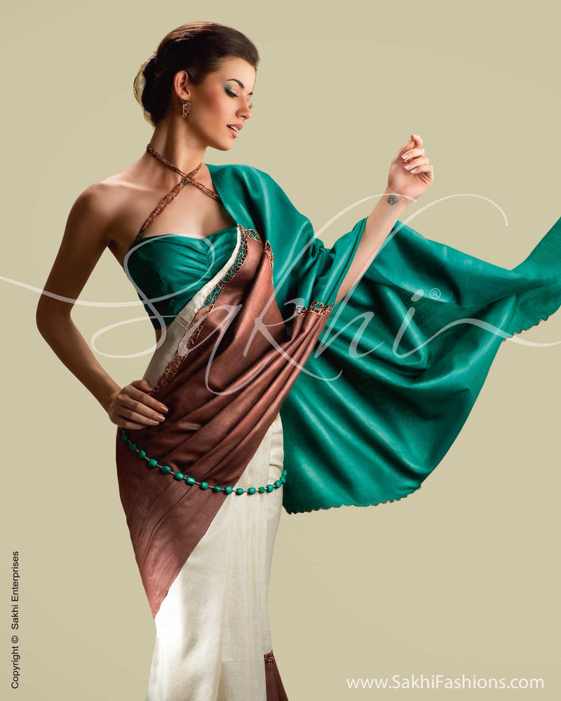 SR-0018 Cream & Green Tussar Silk Saree