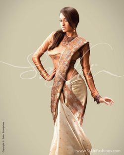 SR-0019 Biege & Antique Tussar Silk Saree