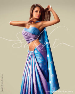 SR-0021 Blue & Lavendar Kanchivaram Silk Saree