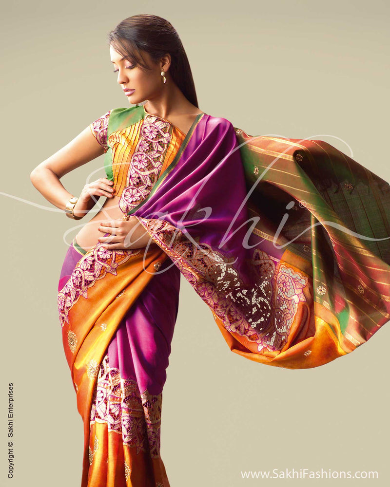 SR-0022 Purple & mustard Silk saree