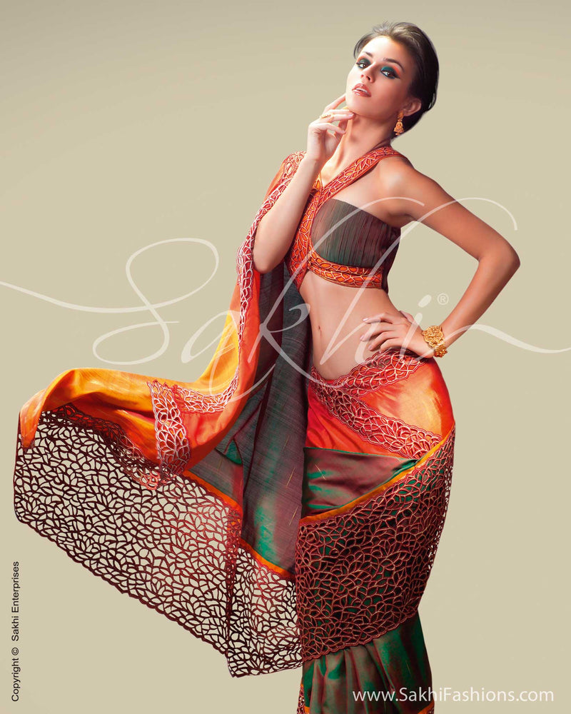 SR-0038 Mustard & Orange Kanchivaram Silk Saree