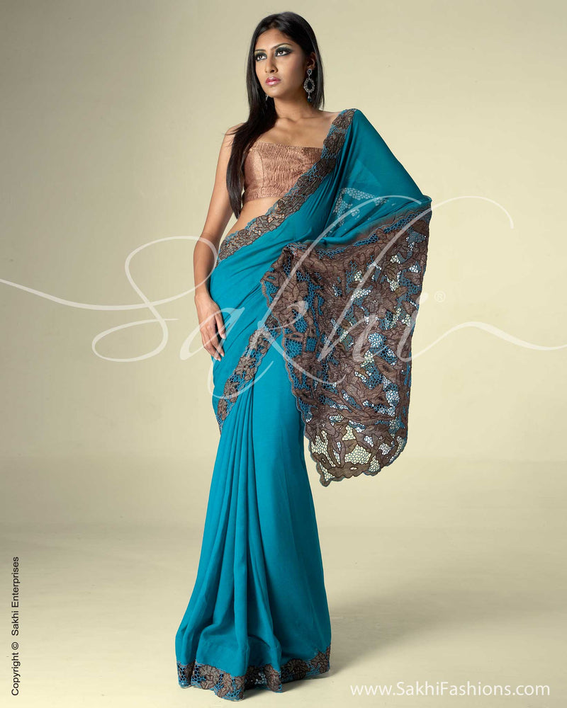 SR-0058 Emerald Green Chiffon Silk Saree antique Bronze pallu