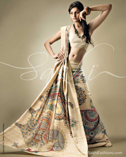 SR-0099 Biege & Multi Colour Tussar Silk Saree