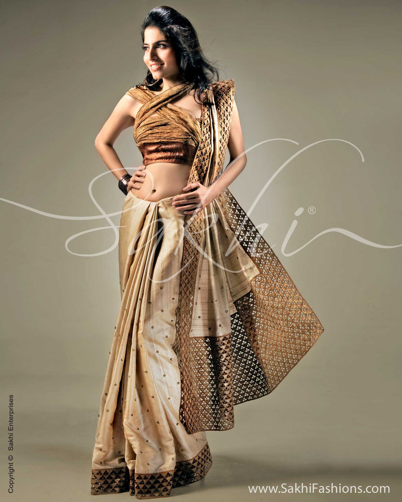 SR-0103 Biege & Antique Tussar silk saree