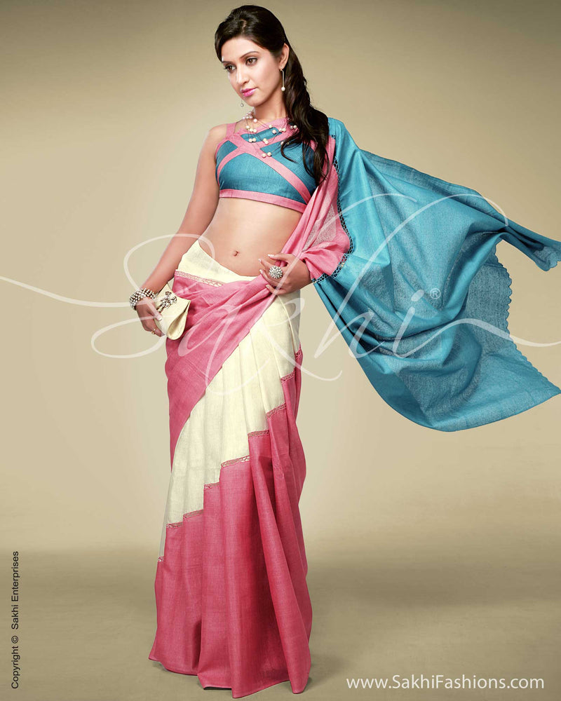 SR-0120 - Cream & Pink Tussar Silk Saree
