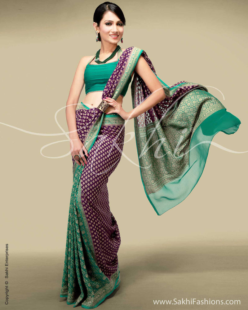 SR-0126 Green & Violet Georgette Saree