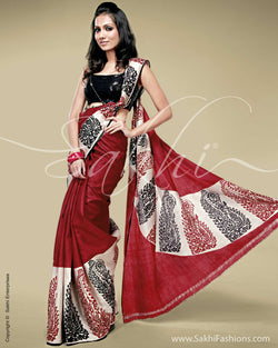 SR-0137 Red & cream Silk saree