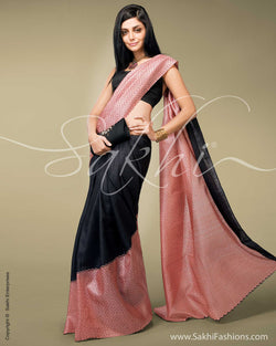 SR-0139 Peach & Black Tussar Silk Saree