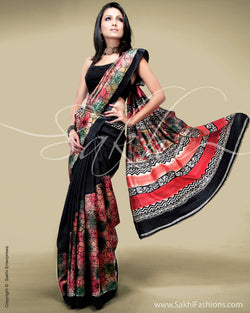 SR-0140 Black & Multi Colour Tussar Silk Saree
