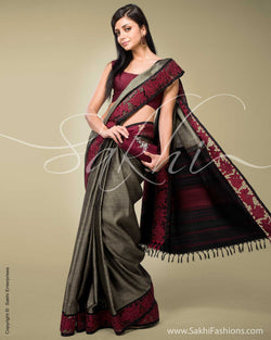 SR-0144 Grey & Black Kanchivaram Silk Saree