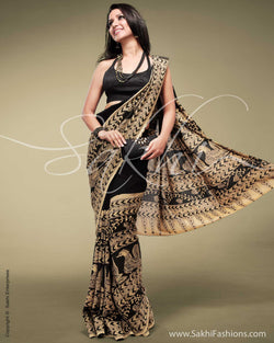 SR-0145 - Black & Biege Georgette Saree