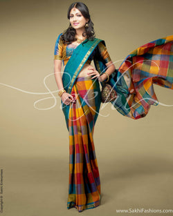 SR-0148 Blue & multi Kanchivaram silk saree