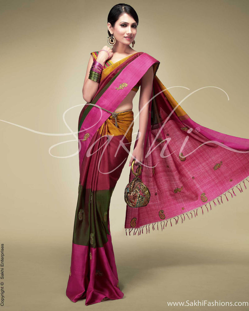 SR-0152 Pink & Green Kanchivaram Silk Saree