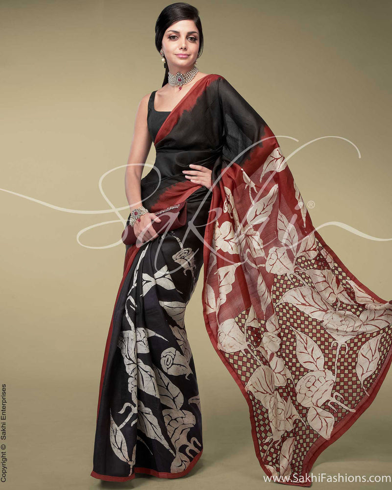 SR-0155 Black & Red Tussar Silk Saree