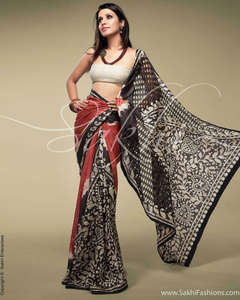 SR-0156 Maroon & Brown Tussar Silk Saree