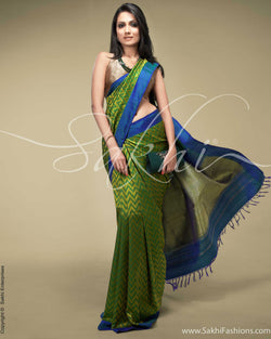 SR-0160 Green & Blue Kanchivaram Silk Saree