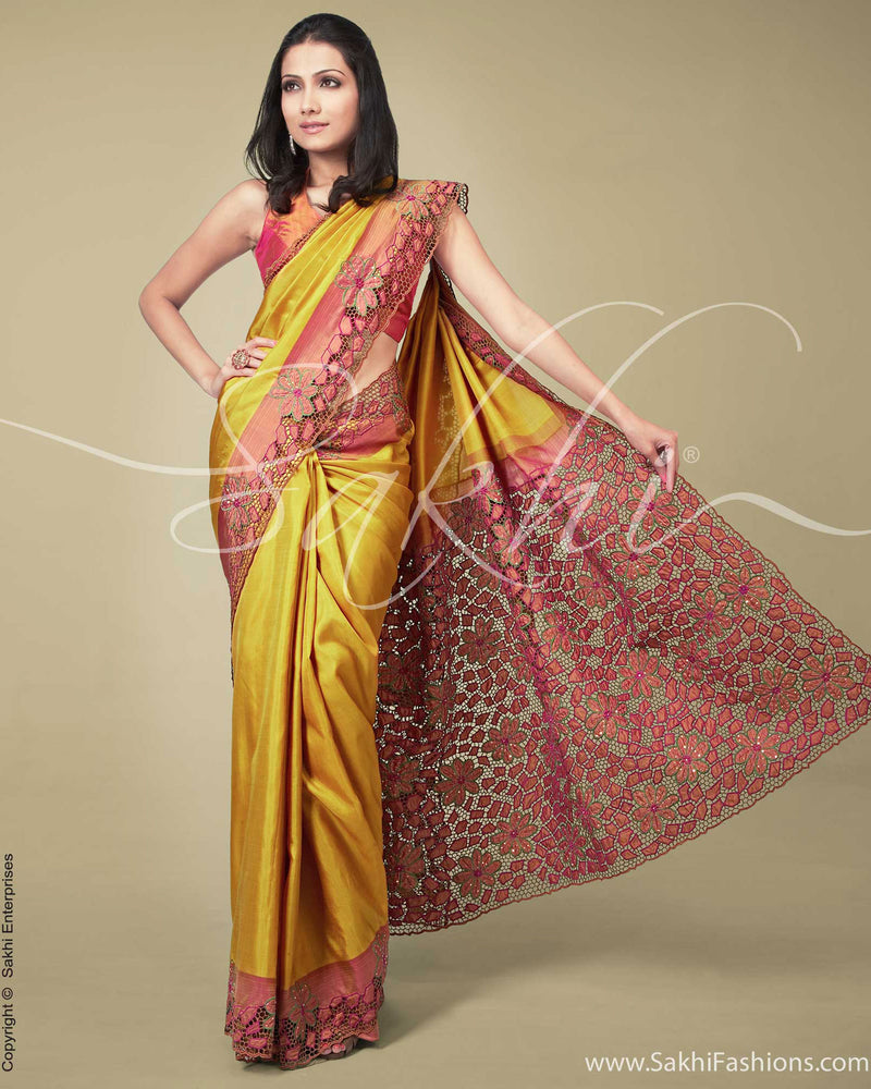 SR-0170 Yellow & Pink Kanchivaram Silk Saree