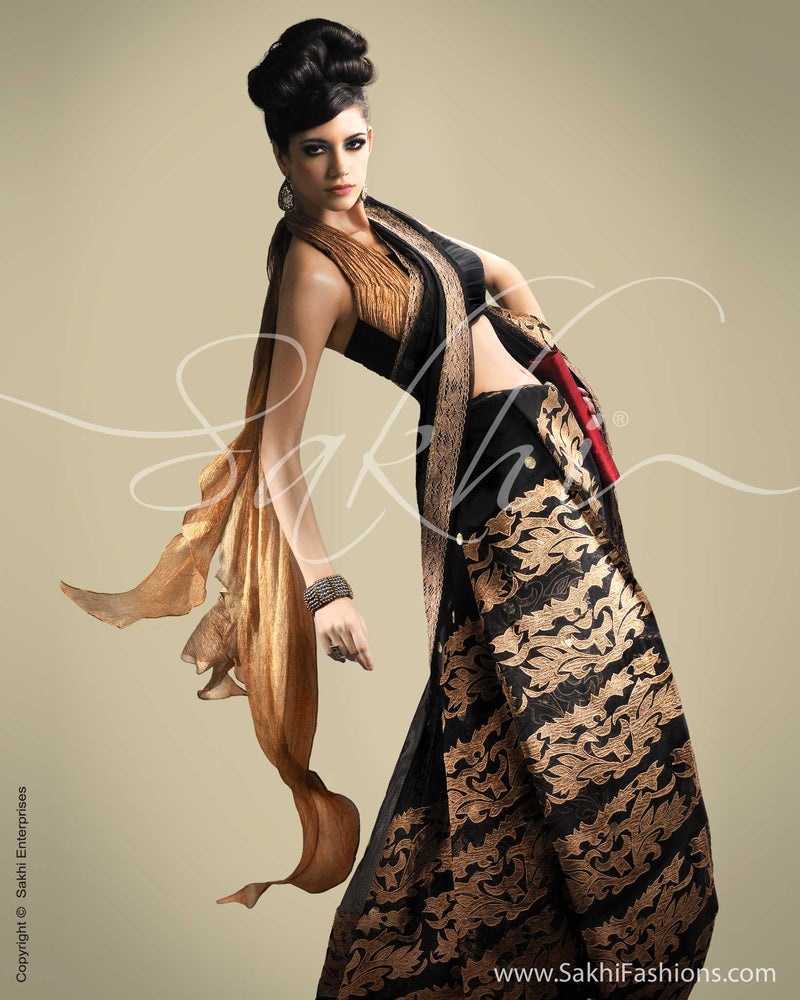 SR-0178 Black & Antique Banarasi Net Saree