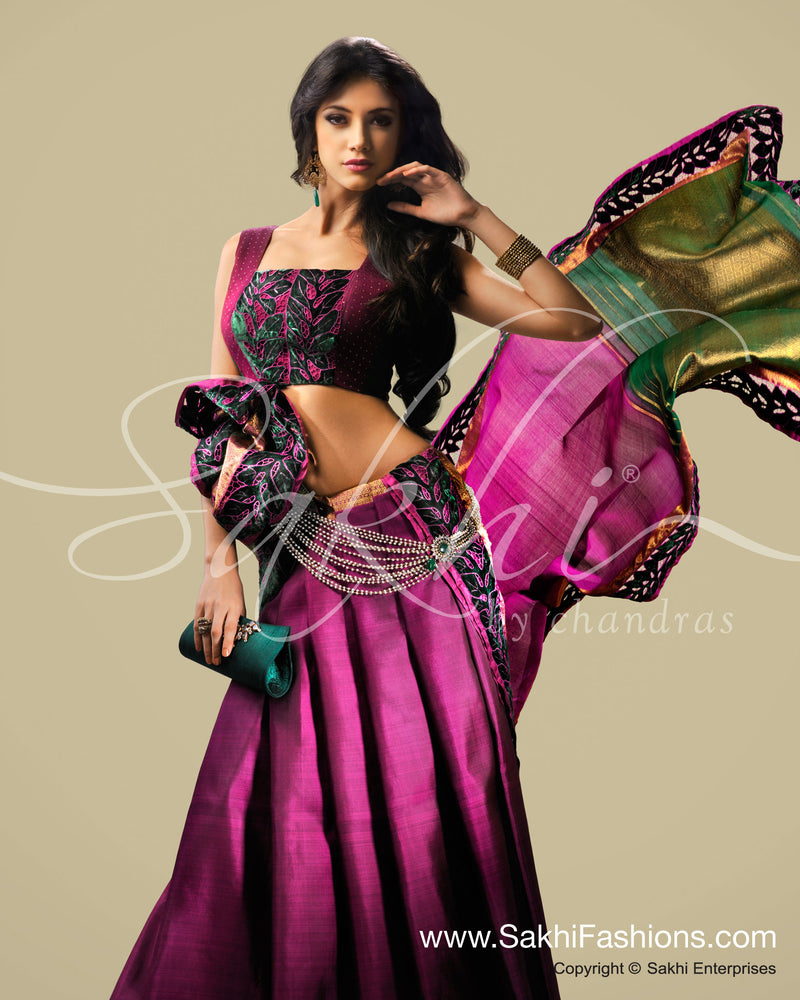 SR-0186 Pink & Green Kanchivaram Silk Saree