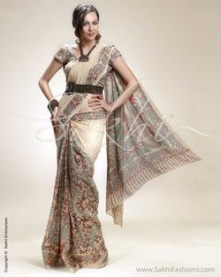 SR-0208 Biege & Multi Colour Chiffon Saree