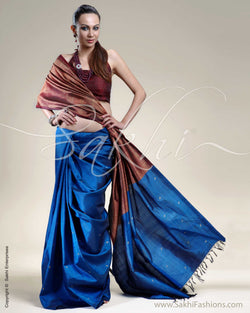 SR-0211 Blue & Maroon Kanchivaram Silk Saree