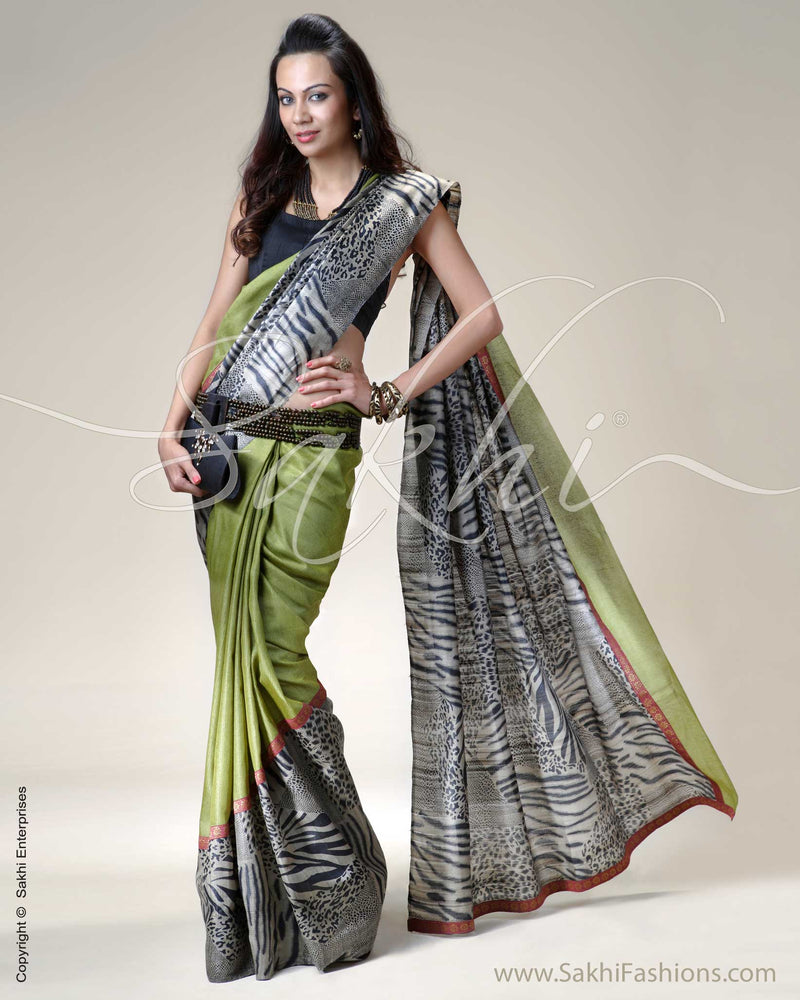 SR-0214 Green & Black Tussar Silk Saree