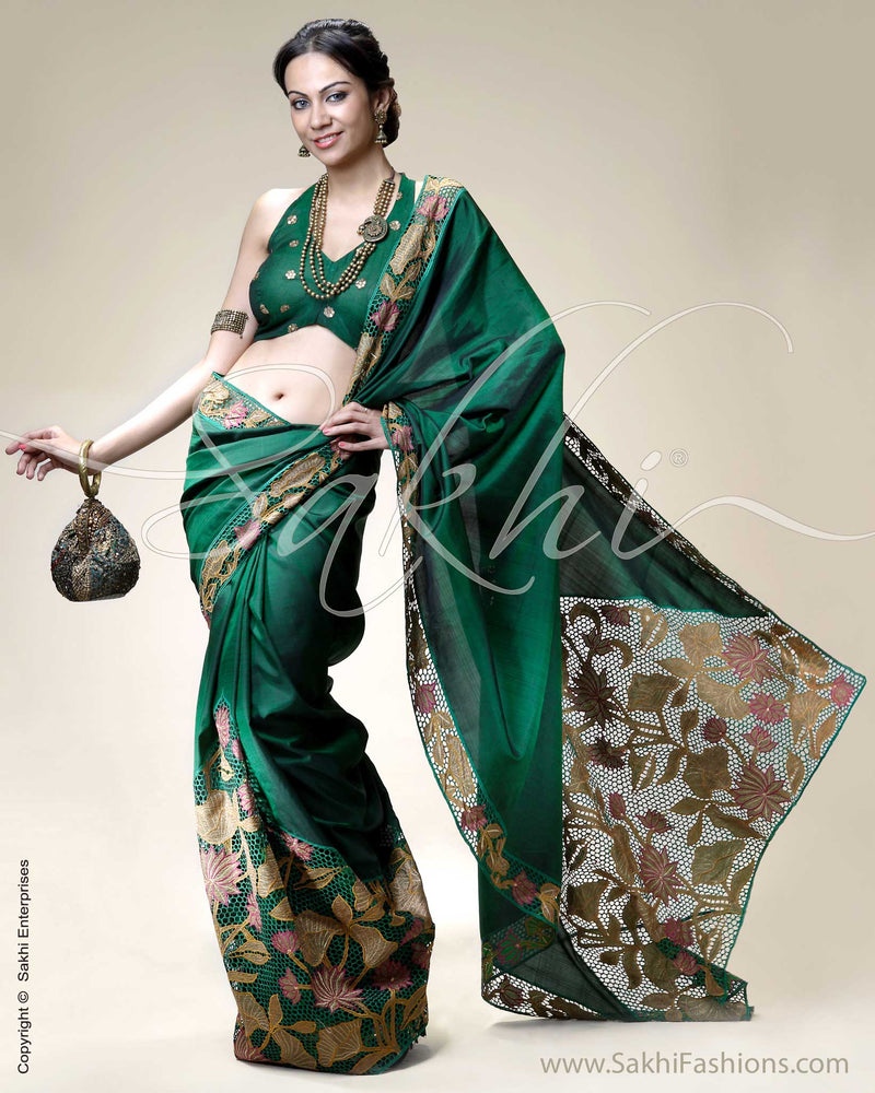SR-0215 Green & Multi Colour Kanchivaram Silk Saree