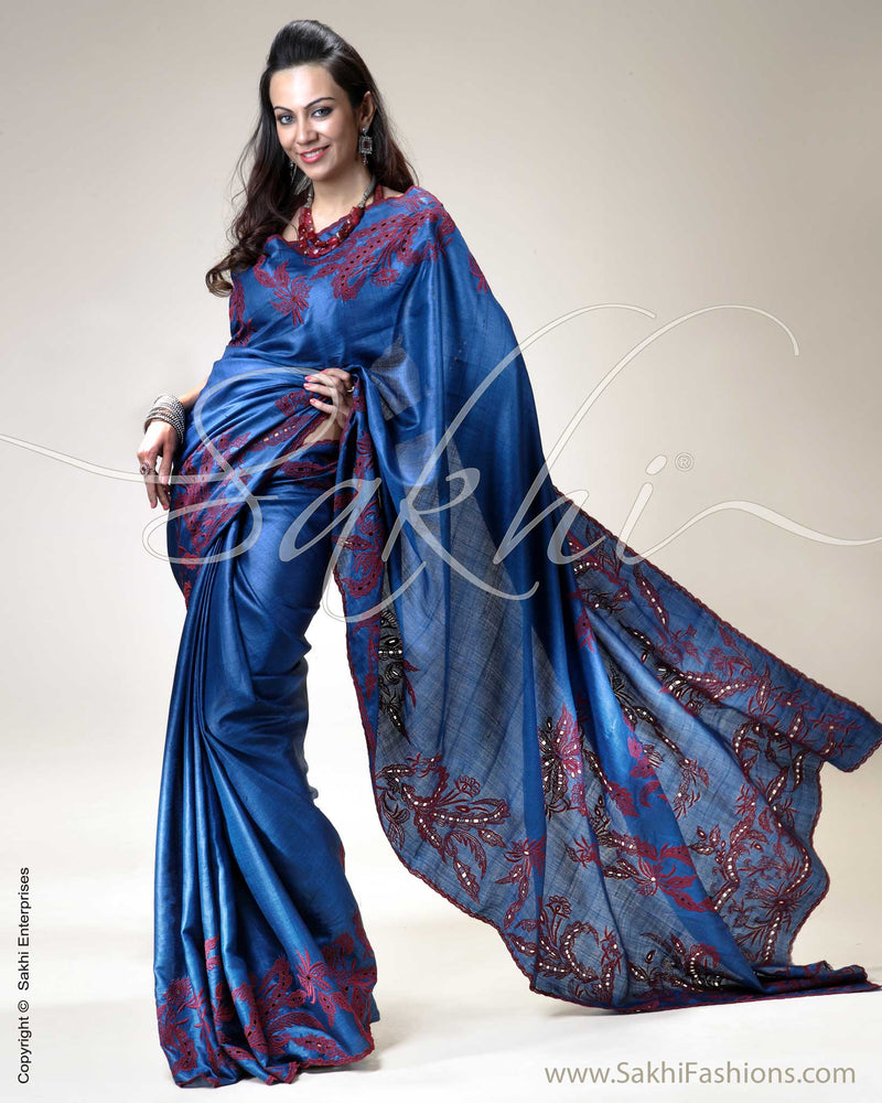 SR-0225 Blue & Maroon Tussar Silk Saree