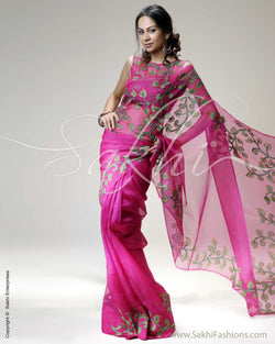SR-0229 Pink & Multi Colour Banarasi Net Saree