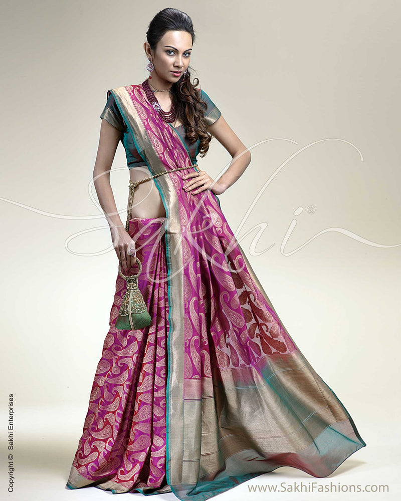 SR-0232 Pink & Green Banarasi Silk Saree