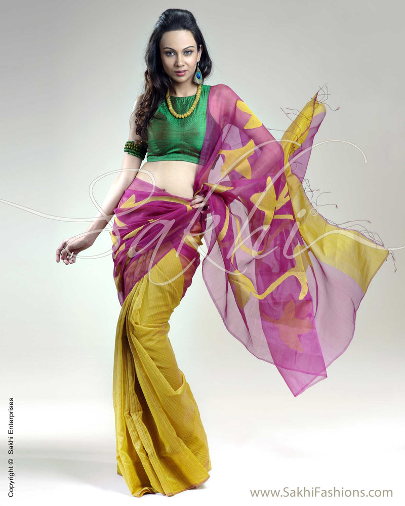 SR-0233 Violet & Yellow Matka Silk Saree