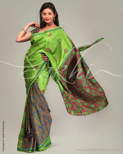 SR-0247 Green & Pink Tussar Silk Saree