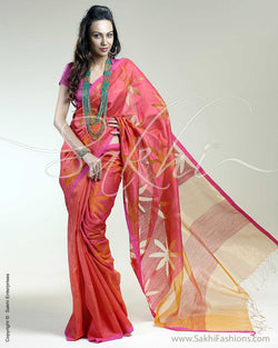 SR-0268 Pink & orange Matka silk saree