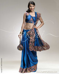 SR-0269 Blue & Multi Colour Kanchivaram Silk Saree