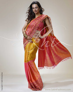 SR-0287 Pink & Yellow Kanchivaram Silk Saree