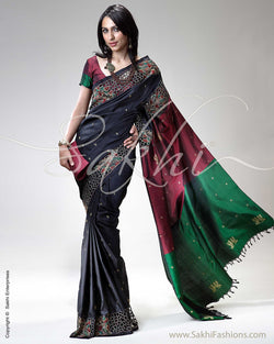 SR-0291 Black & Maroon Kanchivaram Silk Saree