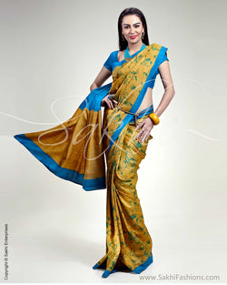 SR-0300 Mustard & Blue Tussar Silk Saree