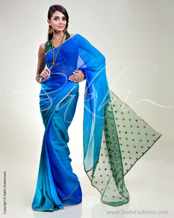 SR-0301 Blue & Green Chiffon Saree