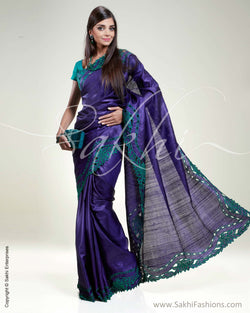 SR-0315 Violet & Green Tussar Silk Saree