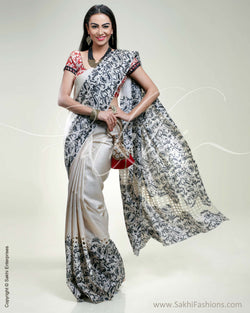 SR-0326 Beige & black Tussar silk saree