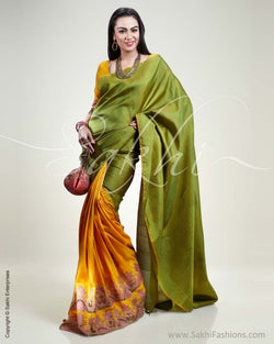 SR-0329 Yellow & Green Kanchivaram Silk Saree